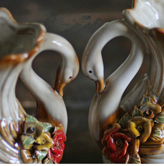 2pcsset Beautiful Swan Vase Home Garden Decoration Animal Vase