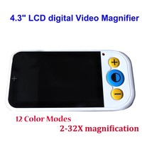 2x 32x Electronic Magnifier 4.3 Color LCD Desktop Magnifying Glass with 12 Color Modes Visual Electronic AV Out for Low Vision