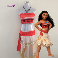 Polynesia Princess Moana Cosplay Costume Christmas Halloween Costumes Movie Moana Dress With Free Necklace For Women