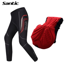 SANTIC Cycling Pants Men 4D Pad Long Length MTB Road Bicycle Bike Pants Downhill Fitness Tights Cycling Clothing Cuissard velo