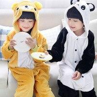 Unisex Children Clothing Panda Bear Animal Pajamas Sleepwear Jumpsuit Kids Clothes Baby Rompers Flannel Onesies Costume