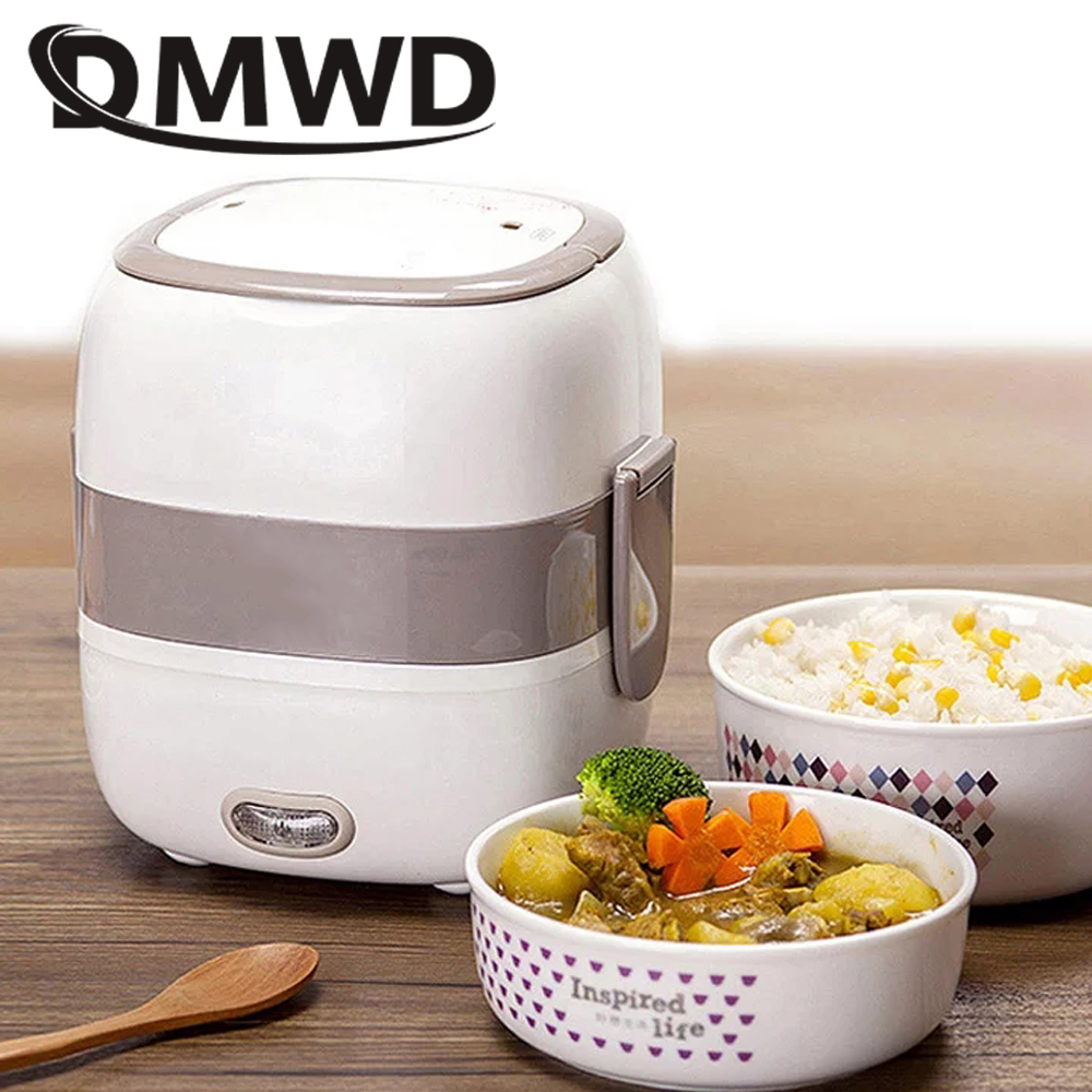 DMWD Electric Heated Lunch Box 2 Layers Ceramic Container Insulation Heating Lunchbox Food Warmer Mini Rice Cooker Steamer EU US dmwd mini rice cooker insulation heating electric lunch box 2 layers portable steamer multifunction automatic food container eu