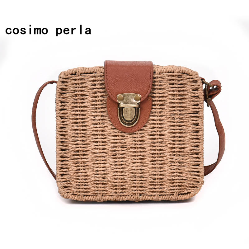 Knitting Straw Beach Bags Bali Rattan Summer Square Handbag for Women 2018 Bohemia INS Retro Small Leather Strap Shoulder Bag