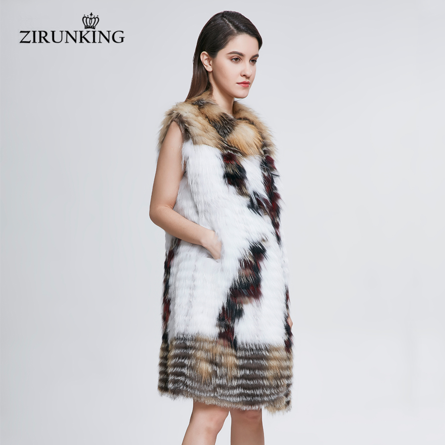 Fox Renard Réel Zc1814 De Femelle Manteau Survêtement Multi Naturelle Vêtements Mode Gilet Zirunking Lady Fourrure Printemps Gilets nBSqTxv