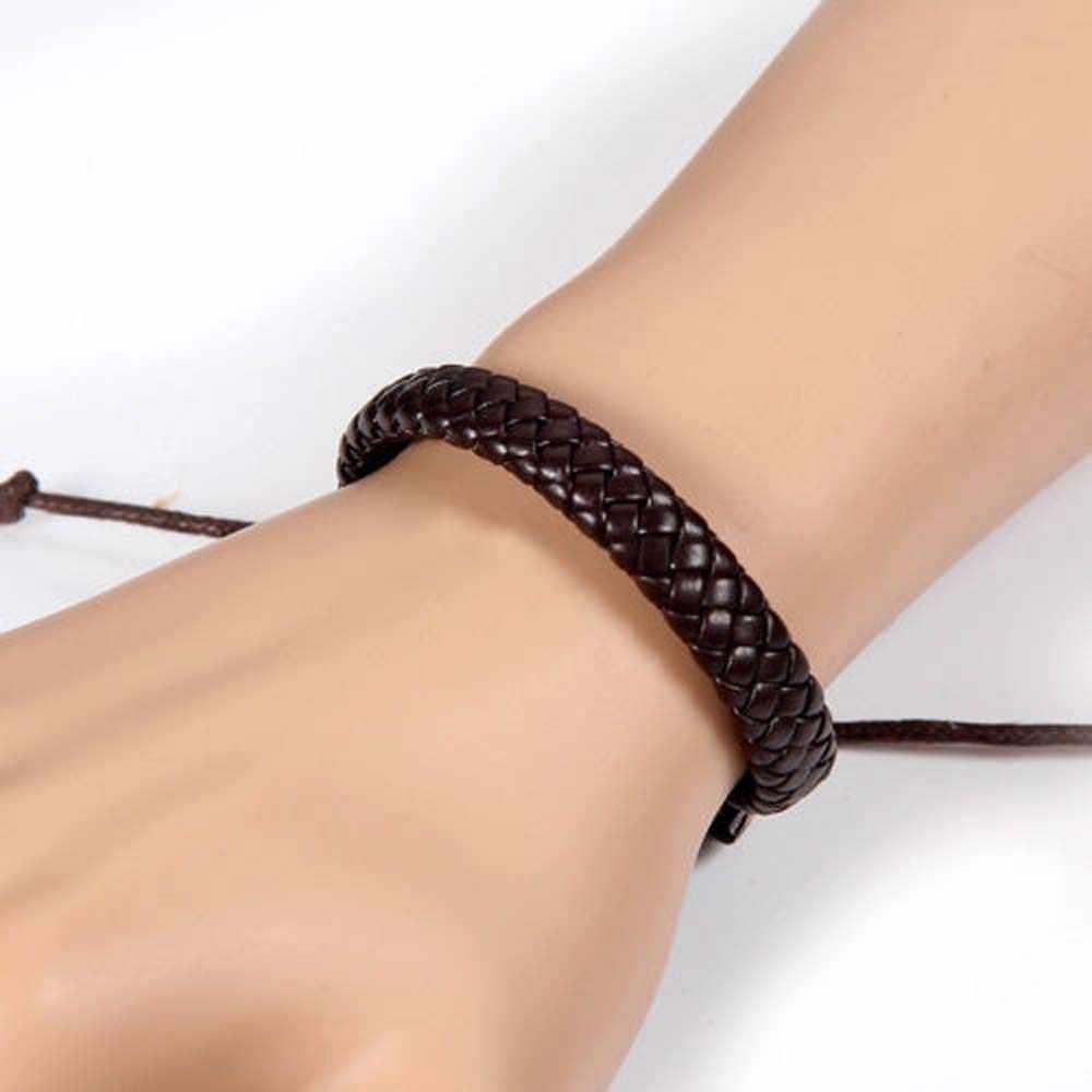 新パンク男性レザーブレスレットバングルカフロープジュエリー黒/ブラウン編組レザーブレスレット調節可能なファッション腕輪
