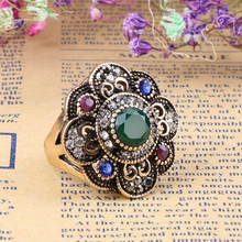Kinel Vintage Green Crystal Flower Ring Antique Gold Color Turkish Metal Resin Rings For Women Party Jewelry Anel Anillo