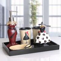 Bathroom five piece resin creative personality ware Mediterranean bathroom wash cup kit LO723445