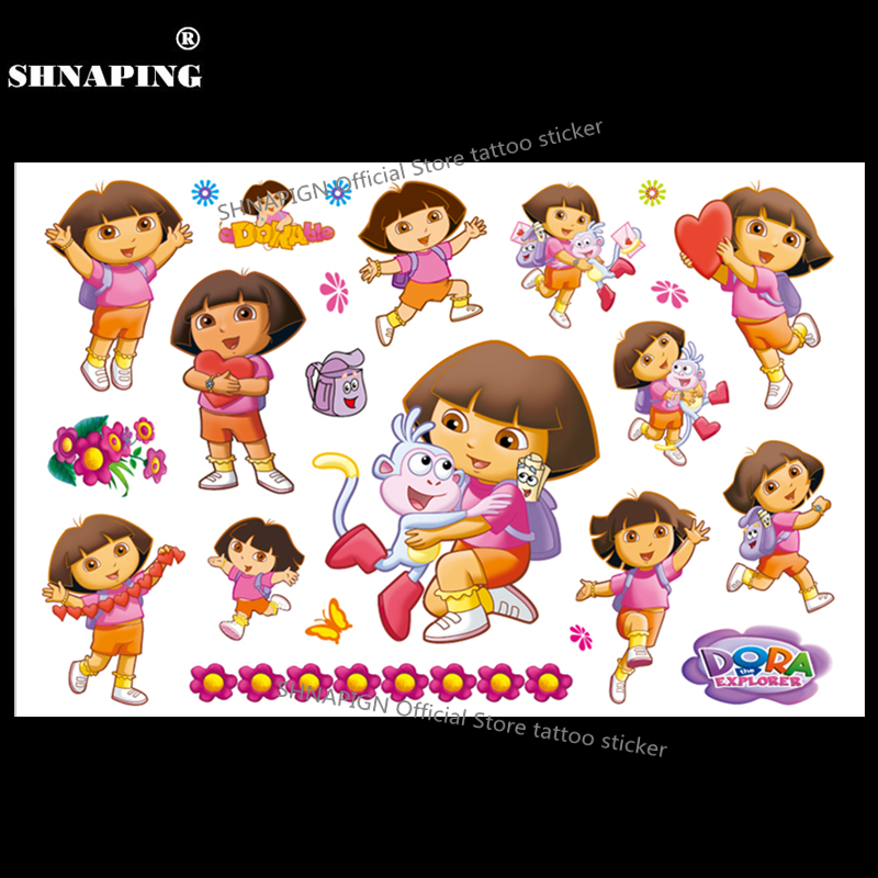 SHNAPIGN Explorer Dora Niño Tatuaje temporal Body Art Flash Tattoo Stickers 17 * 10cm Etiqueta de la pared de estilo Henna Tatoo impermeable