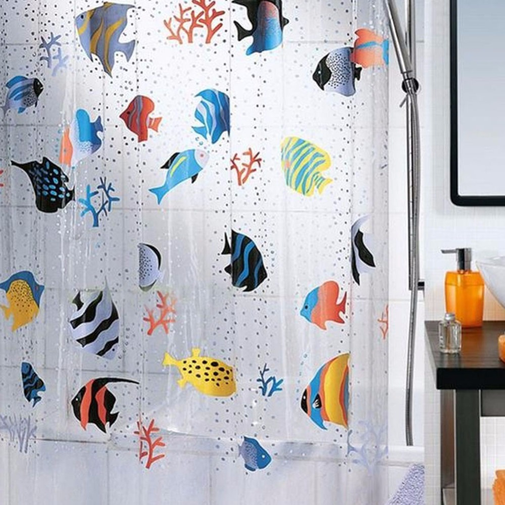 "Tropical Fish PVC Transparent Shower Curtain Waterproof Mildewproof Colorfast Harmless Bathroom Curtain 71"" x 78"""
