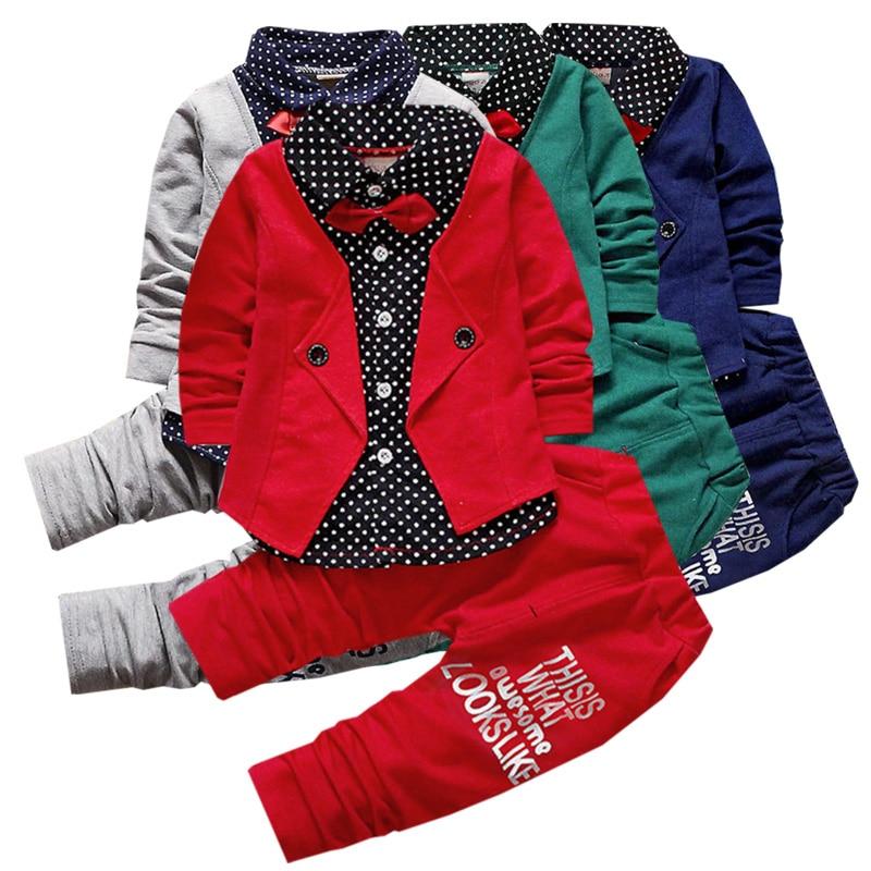 malé dítě Boy Oblečení Oblek Baby Bow Tie Dot Tisk Formální šaty Set Děti Narozeninový večírek Módní oblečení 1-4 y Dětské oblečení
