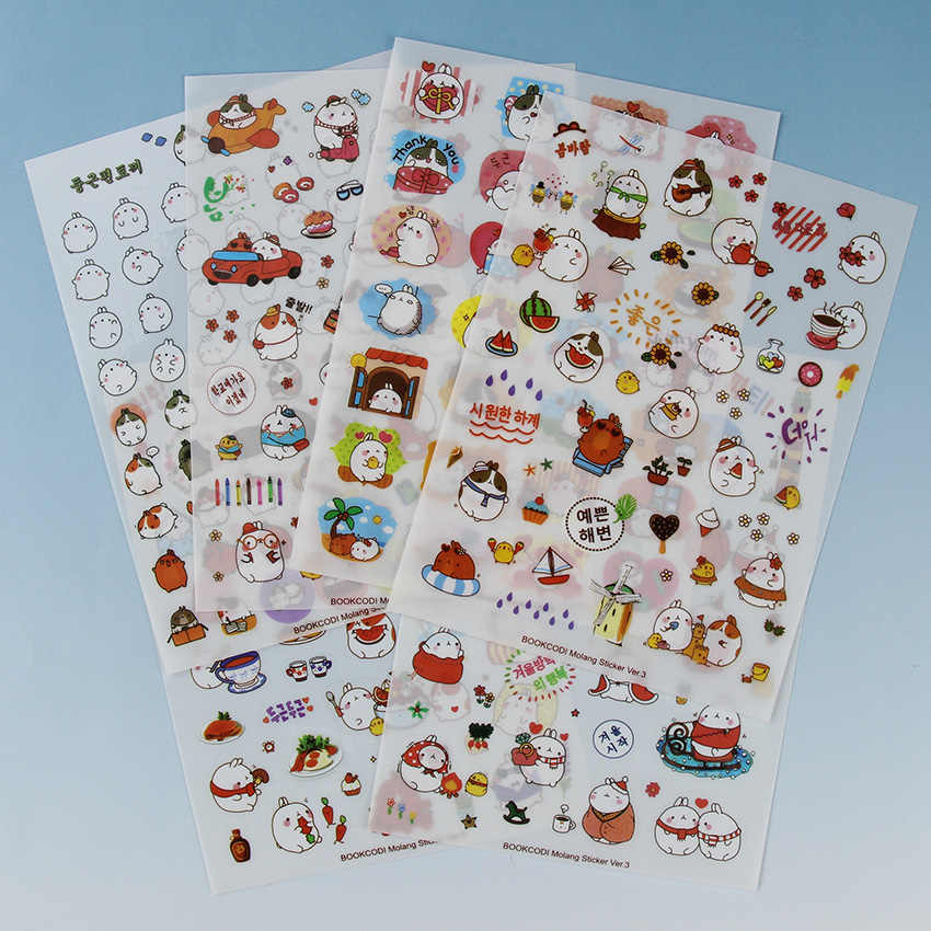 6 vellen/Sets Korea Cartoon Sticker Aardappel Konijn de Derde Kwart Serie Stickers Kawaii PVC Sticker Schoolbenodigdheden