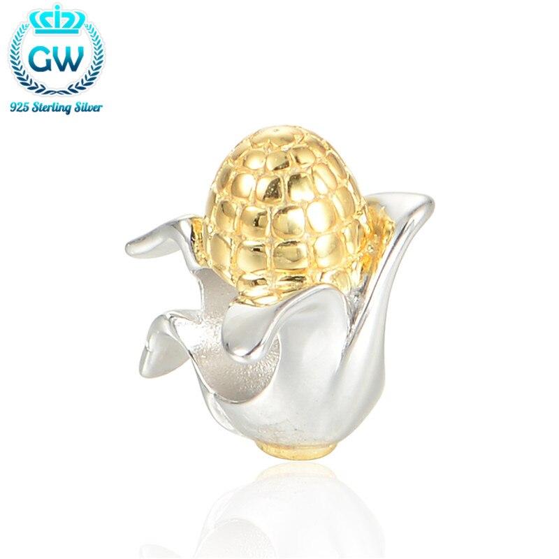 925 Sterling Silver Kids Jewellery Corn Bead Golden Food Bead Charm Fit European Bracelets Brand Gw 2016 Summer Style E026