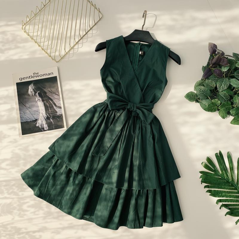 Korean Vintage Pure V Collar Sleeveless High Waist Bow Tie Double Ruffle Holiday Dress Women Vestidos E348 76