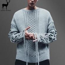 Aelfric Eden Fashion Winter Men Lace Twist Sweater Korean The Trend Mens Retro O-neck Warm Knitwear Man Black Hip Hop Pullover