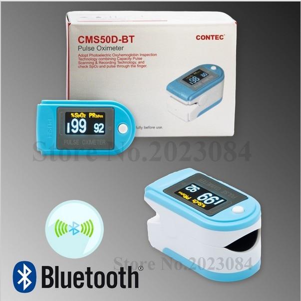 CONTEC Bluetooth Fingertip Pulse Oximeter SpO2 Blood Oxygen Monitor CMS50D-BT Free Rubber Case
