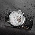 Мужские автоматические деловые часы OUYAWEI  механические наручные часы с турбийоном  с кожаным ремешком для даты и дня