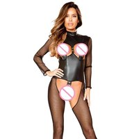 New Body Sexy Hot Erotic Lingerie Porno Women Bodysuit Crotchless Fishnet Eye Belt Transparent Mesh Bodystocking Fetish Lingerie