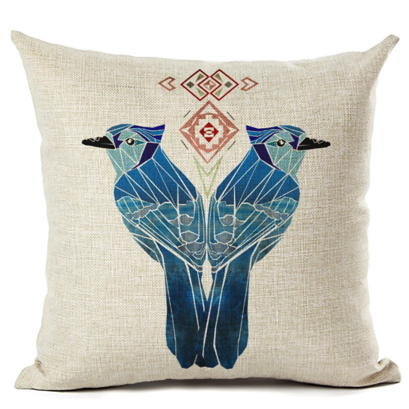 A Pair Bird Pillowcase Cushion Cover Chair Decorative 45cmx45cm Square Sofa Bed Pillow Cover Spring Couple Bird Pillowcase F