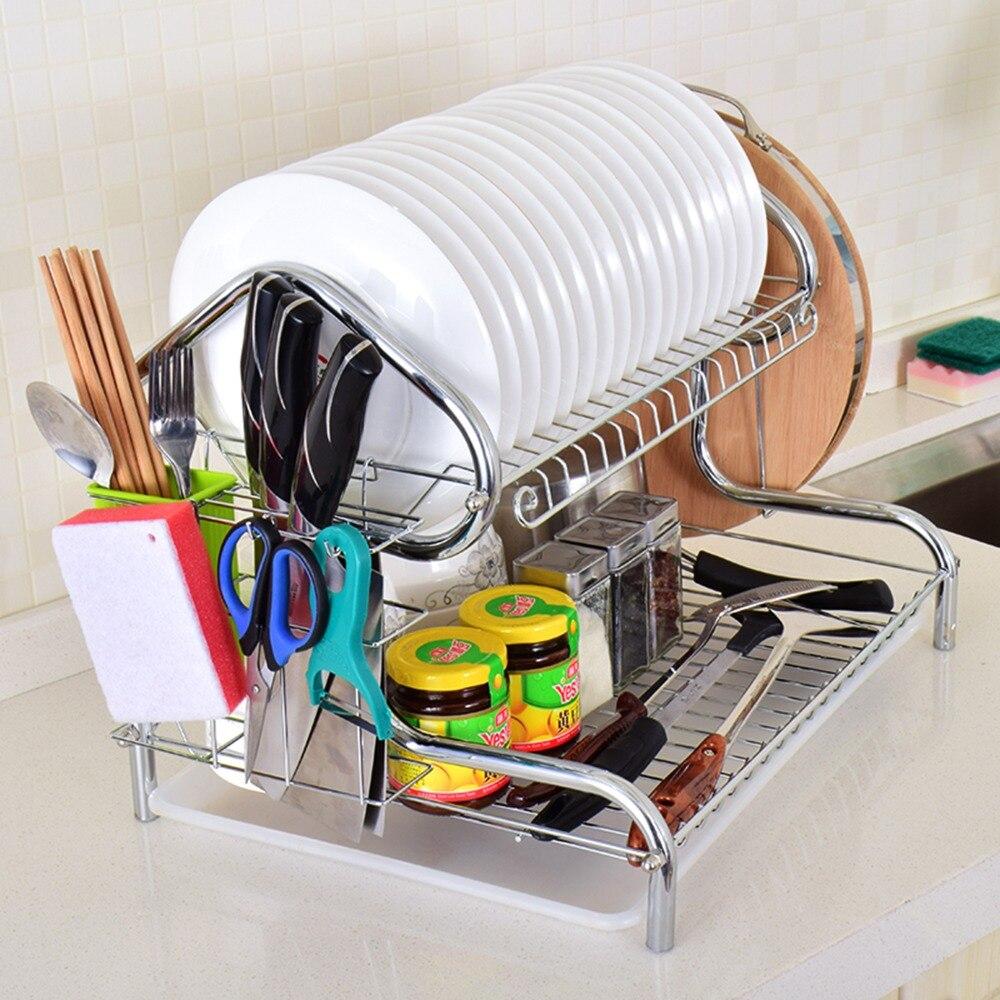 Plato de acero inoxidable Rack de drenaje de 3 niveles utensilios de cocina  estante para platos de secado de almacenamiento de cocina organizador-2  Estilo ... 0f99dae2f50a
