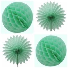 4pcs Mint Green Tissue Paper Fans Honeycomb Balls  Decorations Wedding Party Home Garden Showers Supplies