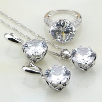 White Cubic Zirconia Sterling Silver 925 Bridal Wedding Jewelry Sets Earrings Pendant Necklace Ring Christmas Gift