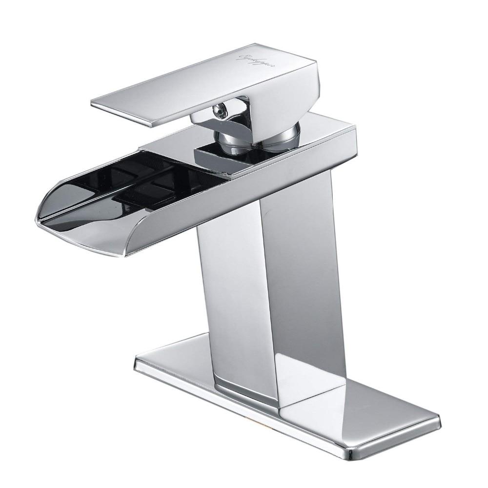 Chrome waterfall bathroom faucet single handle one hole - Single hole waterfall bathroom faucet ...