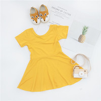 ZTKIDS Toddler Girls Summer Backless Dresses Kids Solid Sweet Tutu Dress In Summer Children Yellow Simple Style Clothing Dresses