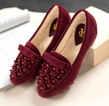 2015 autumn and winter plus velvet padded shoes Peas shoes women with flat plus cotton warm shoes free shipping