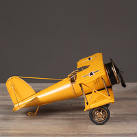 Retro Biplane Model Home Decor Iron Plane Model Iron Aircraft Glider Biplane Pendant Airplane Figurines Status