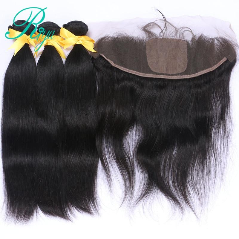 Riya Hair Straight Remy Hair  Natural Color 3 / 4 Bundles With 13*4 Ear To Ear Full Silk Base Frontal Brazilian Human Hair
