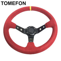 Universal Car Auto 14inch 350mm Deep Dish OMP Racing Steering Wheel Blue And Red Suede Leather