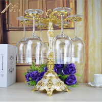 Fashion single layer gold plated metal red wine cup holder goblet rack Champagne Glasses Rack