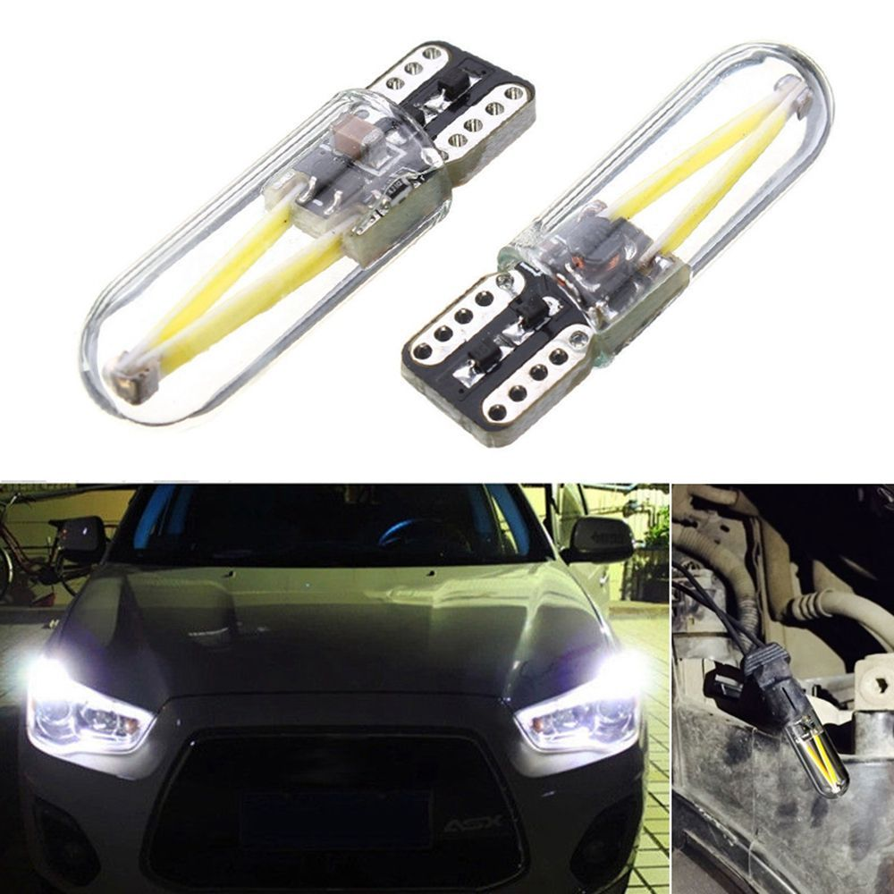 2x 3W 12v-24v T10 194 168 W5W Led Car Glass License Plate Lights Bulbs White 2pc