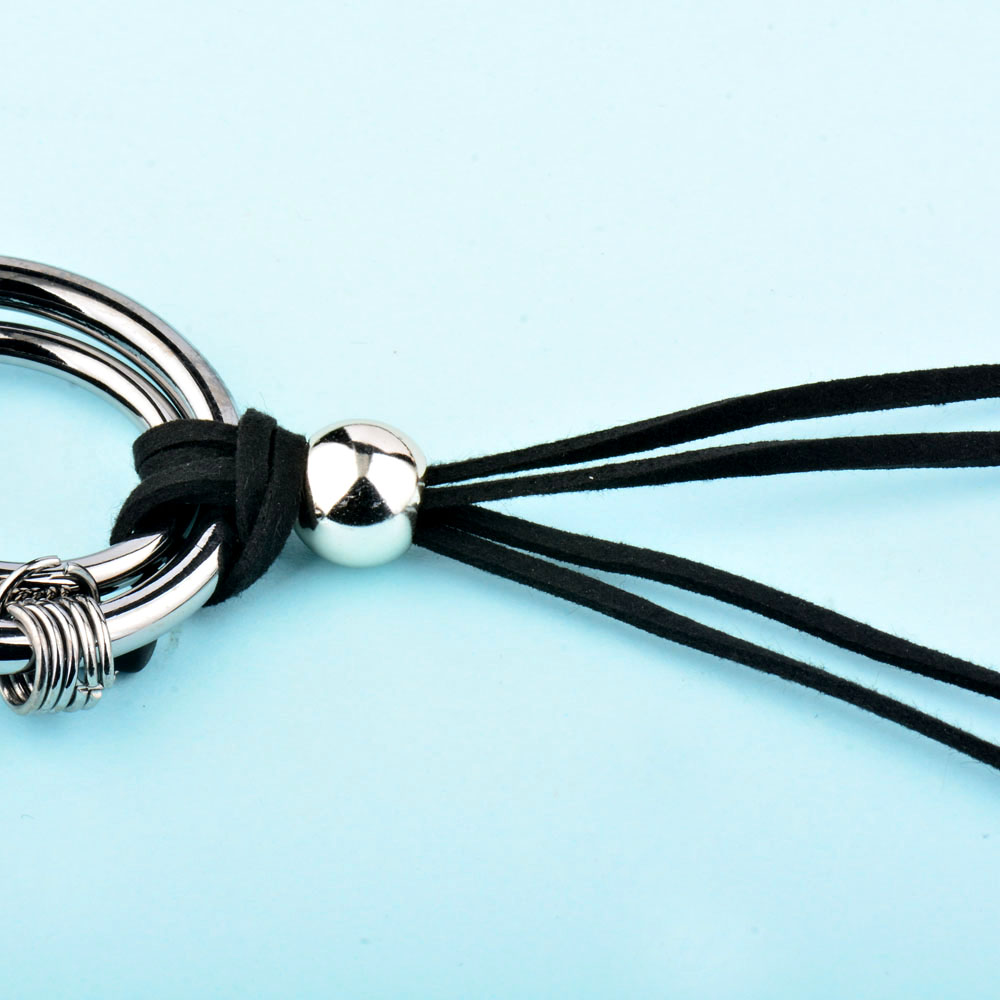SINLEERY Vintage Gothic Black Suede Leather Long Rope Necklace para - Bisutería - foto 5