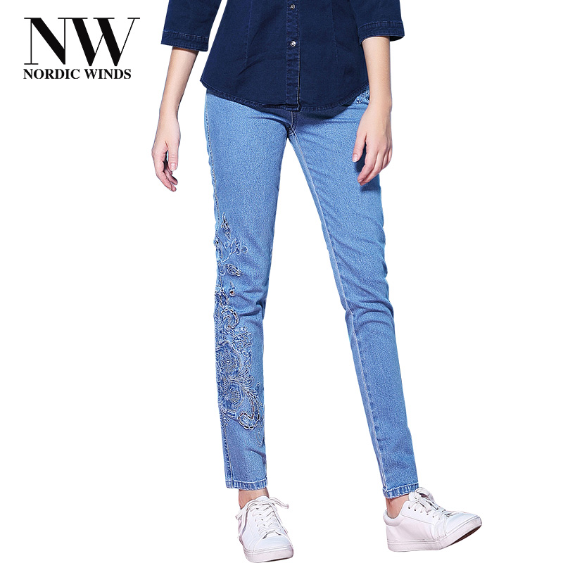 Nordic Winds Woman Stretch Jeans Female Embroidery Jeans Long Flowers Denim Trouser Women Pencil Jeans Pant Trendy Free Shipping цена