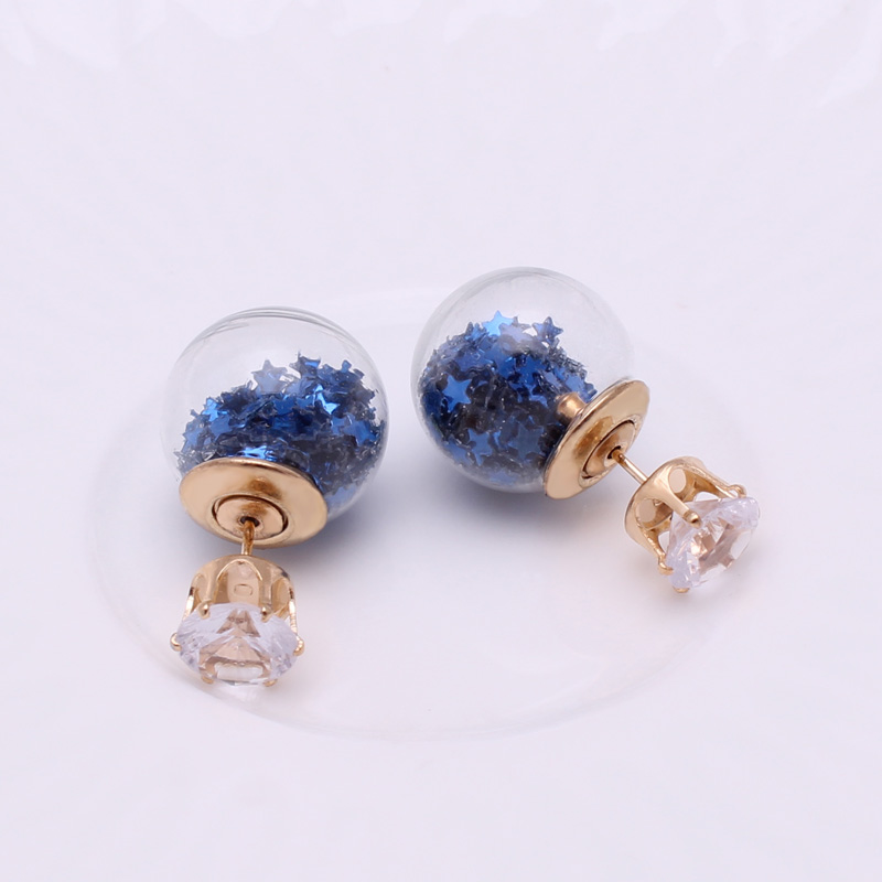New Fashion Jewelry Golden Crown Crystal Shining Double Sides Big Glass Pearl Stud Earrings Star Ball Earrings Ear Stud Women
