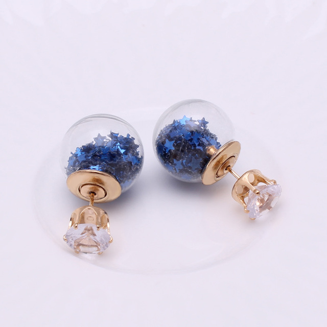 Double Sides Big Glass Pearl Stud Earrings For Women