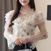 Blouses Shirt New Fashion Women Tops Mesh Transparent Summer Rhinestone 2019 Fall Star Embroidery Bright Screen Clothes 834F
