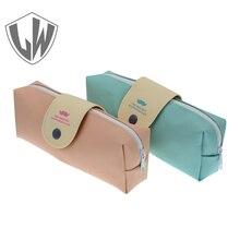 Получить скидку Карандаш сумки корейский Карамельный цвет свежий Карандаш сумка Кожа PU ручка сумка школьные принадлежности мило канцтовары оптом