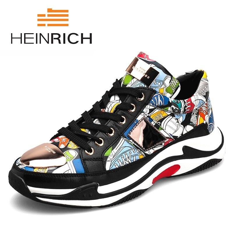 Генрих Элитный бренд Мужская обувь натуральной Повседневная кожаная обувь Для мужчин s Демисезонный на шнуровке Для мужчин прилив модные к