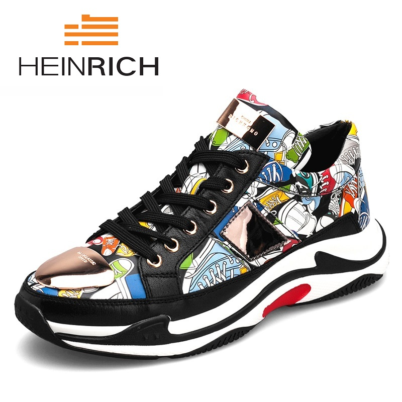HEINRICH Luxury Brand Men Shoes Genuine Leather Casual Shoes Mens Spring Autumn Lace Up Men Tide Fashion Sneakers Krasovki Men vesonal 2017 brand casual male shoes adult men crocodile grain genuine leather spring autumn fashion luxury quality footwear man