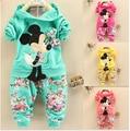 BibiCola Primavera Outono meninas do bebê roupas Esporte terno conjunto de roupas crianças hoodies calças crianças conjuntos de roupas de minnie mouse
