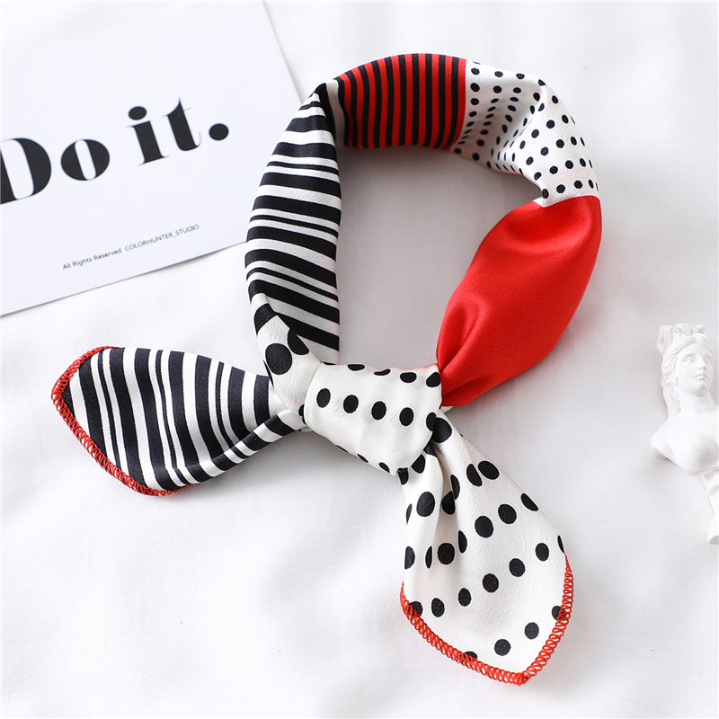 New Silk Scarf Square Women Fashion Dot Striped Print Neckerchief Ladies Work Scarves Small Winter Foulard Bandana Hair Tie Band