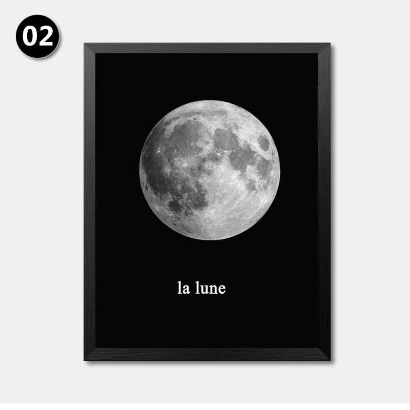 Black White Minimalist The Moon Art Canvas Prints Posters Wall Picture Paintings For Kids Bedroom Home Decor No Frame LP0014 In Painting Calligraphy From