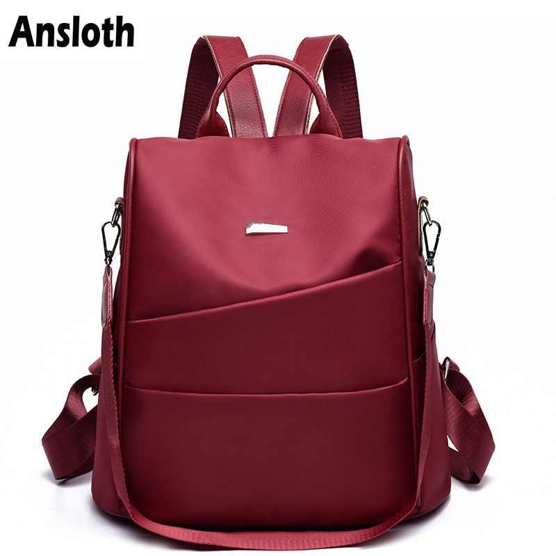 Anslot Оксфорд рюкзак для девочек-подростков сплошной цвет Школьный рюкзак Противоугонный рюкзак женская большая дорожная сумка женский рюкзак HPS348
