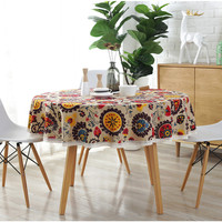 Modern Round Tablecloth Colorful Sunflowers Printed Table Covers with Lace Cotton Home Hotel Decorative Table Cloth