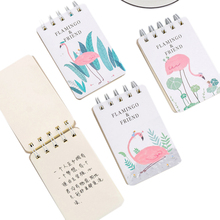 1pcs/lot Kawaii flamingo series Small Coil Notebook For Kids Gift Lovely Stationery Diary Sketchbook Agenda 1pcs lot small green tree series small coil diary notebook stationery sketchbook school offices supplies