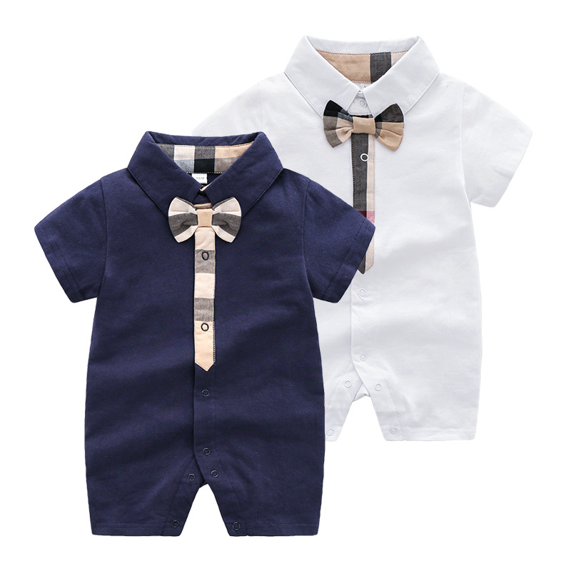 Summer Baby Boys Short Sleeved Jumpsuit For Newborn   Romper   Infant Kids Clothes Toddler Kids Clothes Gentleman Baby   Rompers