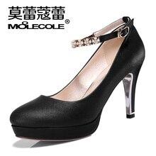 Schuhe Frau MOOLECOLE Runde Kappe PU Leder Mode Frauen Pumpt Plattform Frauen High Heels 6×305-3