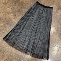 Модная женская юбка до щиколотки плиссированная женская элегантная трапециевидная плиссированная повседневная юбка полосатая длинная юб